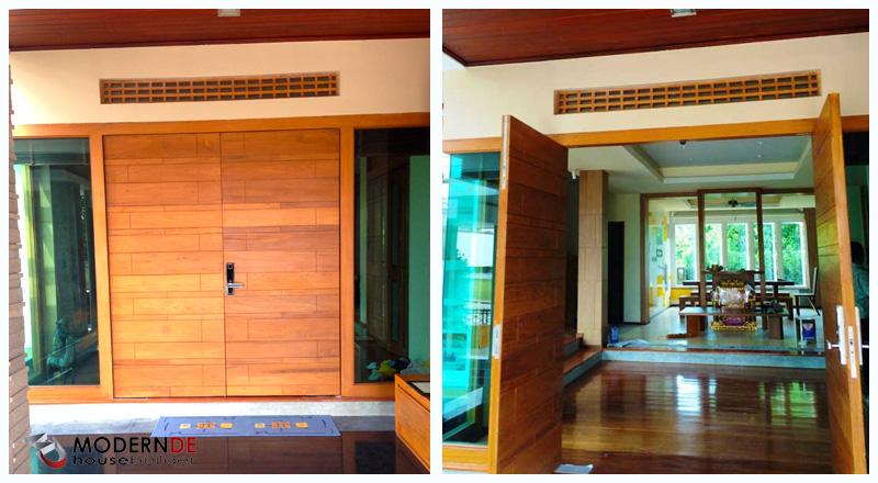 ประตูบ้าน บานใหญ่ กว้าง พื่อให้พลังบวกเข้าสู่ตัวบ้านได้ดี